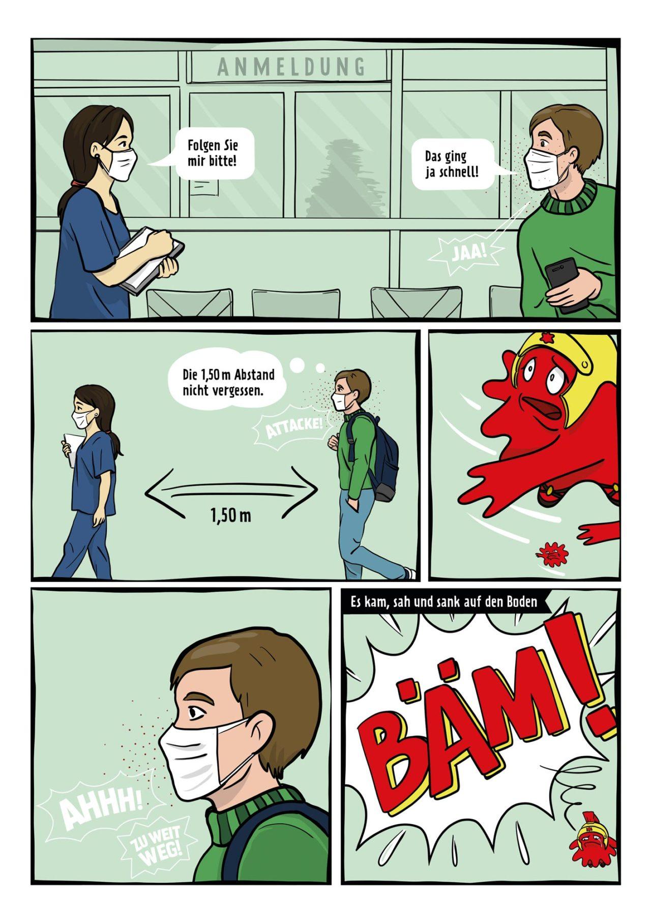 AHA Regeln Comic Abstand